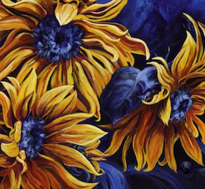 "Acrylic painting, ""Yellow Warriors"" by Canadian artist, Theresa Eisenbarth"