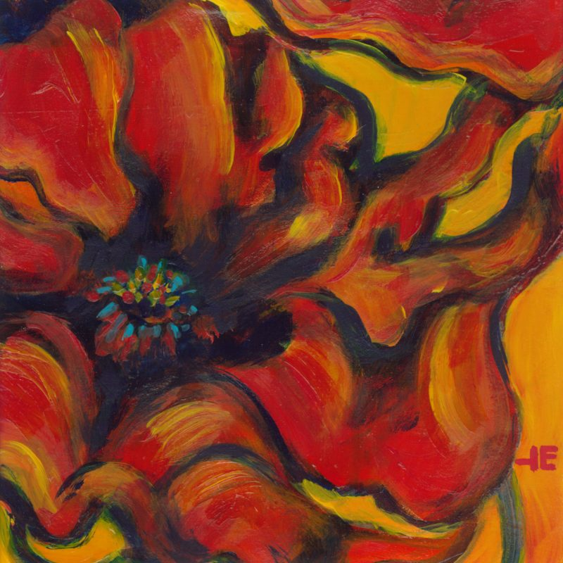"Acrylic painting, ""Yummy Poppies"" by Canadian artist, Theresa Eisenbarth"
