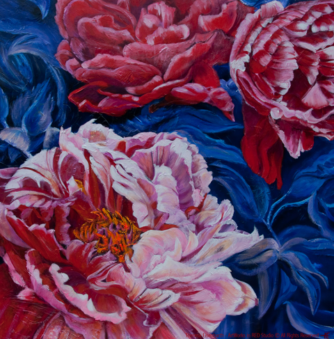 "An acrylic painting of Peony Flowers called ""Ivan's Array of Possibilities"" by Canadian artist Theresa Eisenbarth"