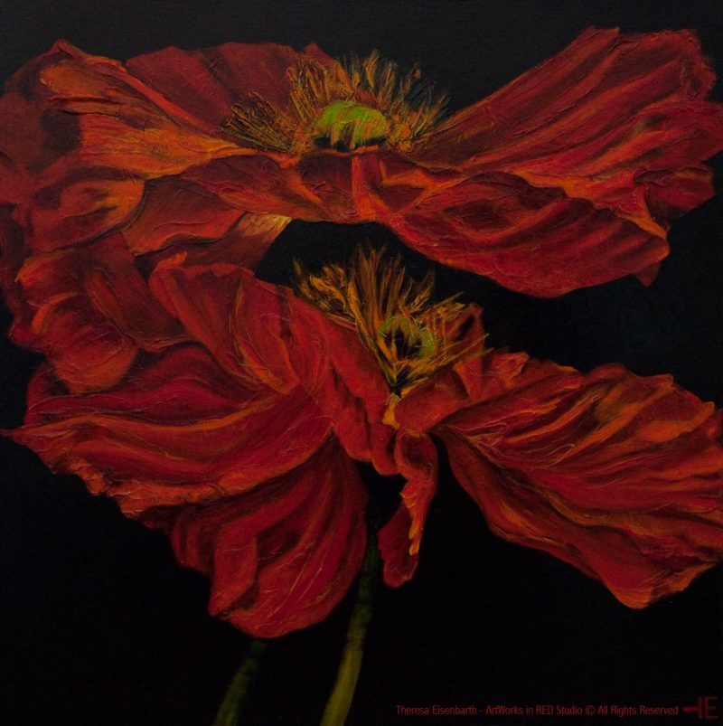 "An acrylic painting of Red poppies called ""Barb's Noble Deeds"" by Canadian artist Theresa Eisenbarth"