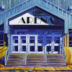 "Acrylic painting, "" It's All About the Hockey, The Arena, Medicine Hat "" by Canadian artist, Theresa Eisenbarth"