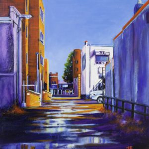 """Acrylic painting, """"Your Deluxe Taxi Awaits, Medicine Hat """" by Canadian artist, Theresa Eisenbarth"""