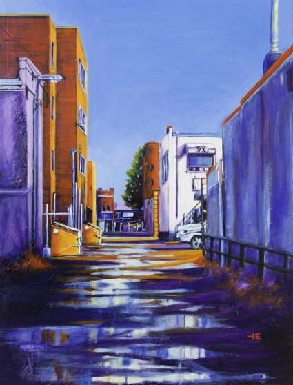 "Acrylic painting, ""Your Deluxe Taxi Awaits, Medicine Hat "" by Canadian artist, Theresa Eisenbarth"