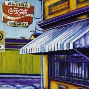 "Acrylic painting, ""Altin's Grocery, Medicine Hat"" by Canadian artist, Theresa Eisenbarth"