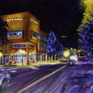 "Acrylic painting, ""City Hall at Night, Medicine Hat "" by Canadian artist, Theresa Eisenbarth"