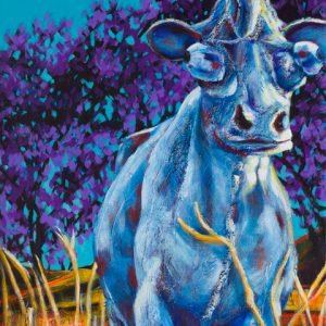 "An acrylic painting of the Paradise Valley Cow called ""Cowmeleon"" by Canadian artist Theresa Eisenbarth"