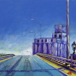 "Acrylic painting, "" Distracted Driving, Five Roses Flour, Medicine Hat "" by Canadian artist, Theresa Eisenbarth"