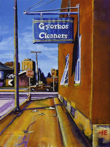 "Acrylic painting, "" Gyorkos Cleaners, Medicine Hat"" by Canadian artist, Theresa Eisenbarth"