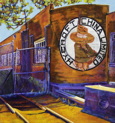 "Acrylic painting, ""Hycroft China Factory, Medicine Hat"" by Canadian artist, Theresa Eisenbarth"