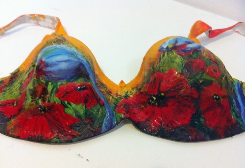 Acrylic bra painting by Canadian artist, Theresa Eisenbarth