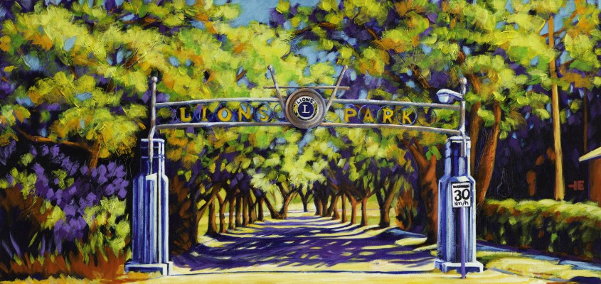 "Acrylic painting, ""Lions Park Entrance, Medicine Hat, Alberta"" by Canadian artist, Theresa Eisenbarth"
