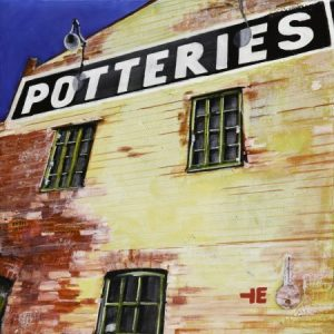 "Acrylic painting, ""A Pottery Town, Medalta Historic Site, Medicine Hat, Alberta"" by Canadian artist, Theresa Eisenbarth"
