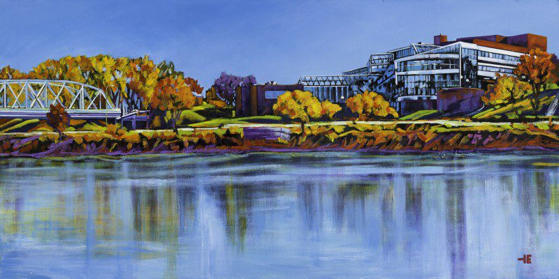 """An acrylic painting of the City Hall building called """"Riverview of City Hall"""" by Canadian artist Theresa Eisenbarth"""