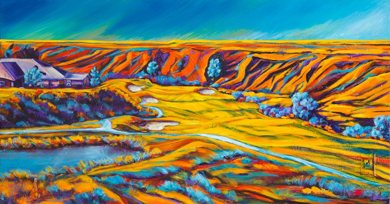 "An acrylic painting of Desert Blume Golf Course called ""Rolling Greens"" by Canadian artist Theresa Eisenbarth"