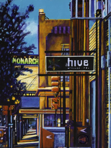 "Acrylic painting, ""The Old Monarch Marquee, Medicine Hat "" by Canadian artist, Theresa Eisenbarth"
