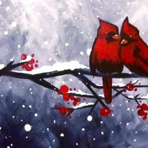 "Acrylic painting, "" Red Cardinals in the Snow "" by Canadian artist, Theresa Eisenbarth"
