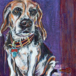 "An acrylic painting of a beagle dog called ALUE, ""Waiting to Escape "" by Canadian artist Theresa Eisenbarth"""