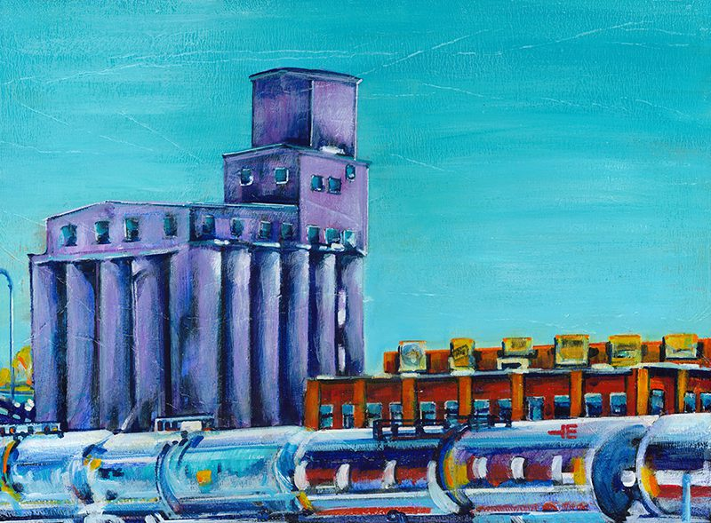 "Acrylic painting, "" Abandoned Flour Mill, Medicine Hat "" by Canadian artist, Theresa Eisenbarth"