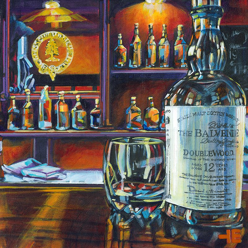 "Acrylic painting, "" Balvenie Scotch with Glass at the Cypress Club, Medicine Hat "" by Canadian artist, Theresa Eisenbarth"