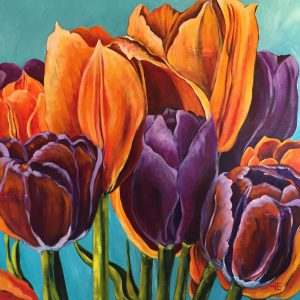 "Acrylic painting of tulips, "" Boldness Has Power "" by Canadian artist, Theresa Eisenbarth"