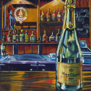 An acrylic painting of Champagne, Veuve Clicquet at the Cypress Club, Medicine Hat, by Canadian artist, Theresa Eisenbarth