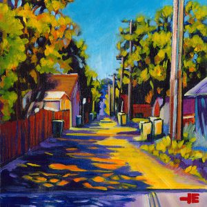 "Acrylic painting, "" Dominion Street Back Alley, Medicine Hat "" by Canadian artist, Theresa Eisenbarth"