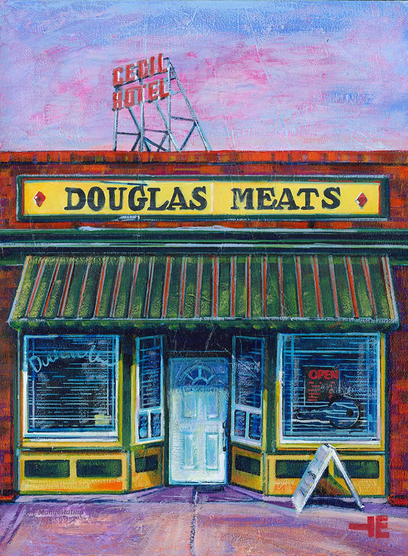 "Acrylic painting, "" Douglas Meats, Medicine Hat "" by Canadian artist, Theresa Eisenbarth"