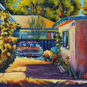 "Acrylic painting, "" Forgot My Car, Medicine Hat "" by Canadian artist, Theresa Eisenbarth"