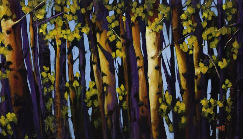"An acrylic painting of Birch Trees in Cypress Hills called "" Hit by the Sun"" by Canadian artist Theresa Eisenbarth"""