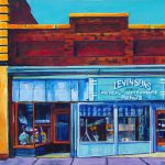 "Acrylic painting, "" House of Music, Levinson's, Medicine Hat "" by Canadian artist, Theresa Eisenbarth"