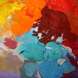 Theresa Eisenbarth's acrylic paint palette in her art Studio