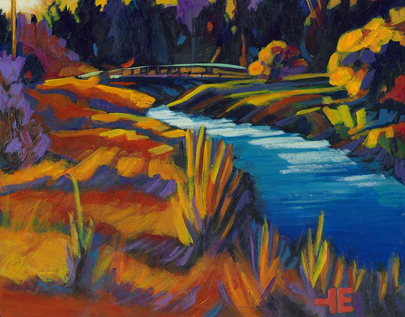 An acrylic painting of Kin Coulee Creek, Medicine Hat, Alberta by Canadian artist Theresa Eisenbarth