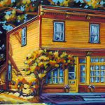 "Acrylic painting, ""McKenzie-Sharland on Dominion Street, Medicine Hat "" by Canadian artist, Theresa Eisenbarth"