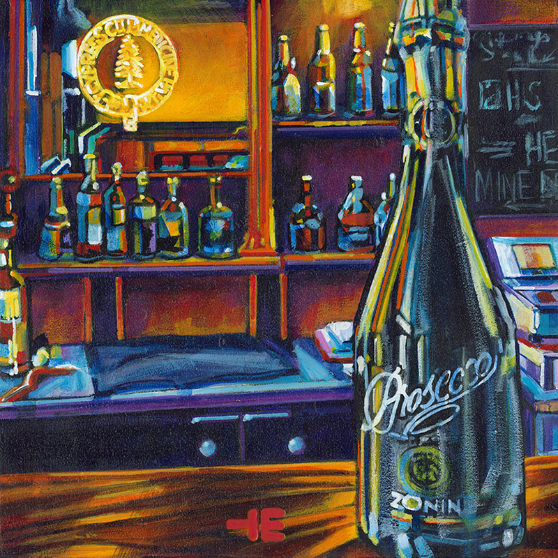 "Acrylic painting, "" Prosecco Bubbly at the Cypress Club, Medicine Hat "" by Canadian artist, Theresa Eisenbarth"