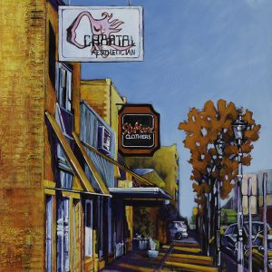 "Acrylic painting, "" Second Street Spa, Chantal Aestheticians, Medicine Hat "" by Canadian artist, Theresa Eisenbarth"
