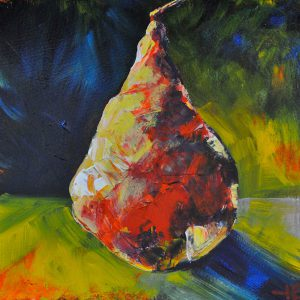 "Acrylic painting, ""Sculptured Pear "" by Canadian artist, Theresa Eisenbarth"
