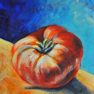 "Acrylic painting, "" Hat Tomato "" by Canadian artist, Theresa Eisenbarth"