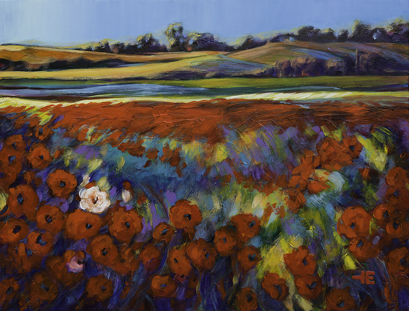 """An acrylic painting of "" White Flowers in a Red Field "" by Canadian artist Theresa Eisenbarth"""