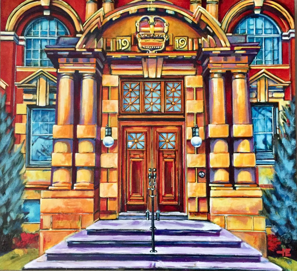 "Acrylic painting, "" Going to Court "" by Canadian artist, Theresa Eisenbarth"