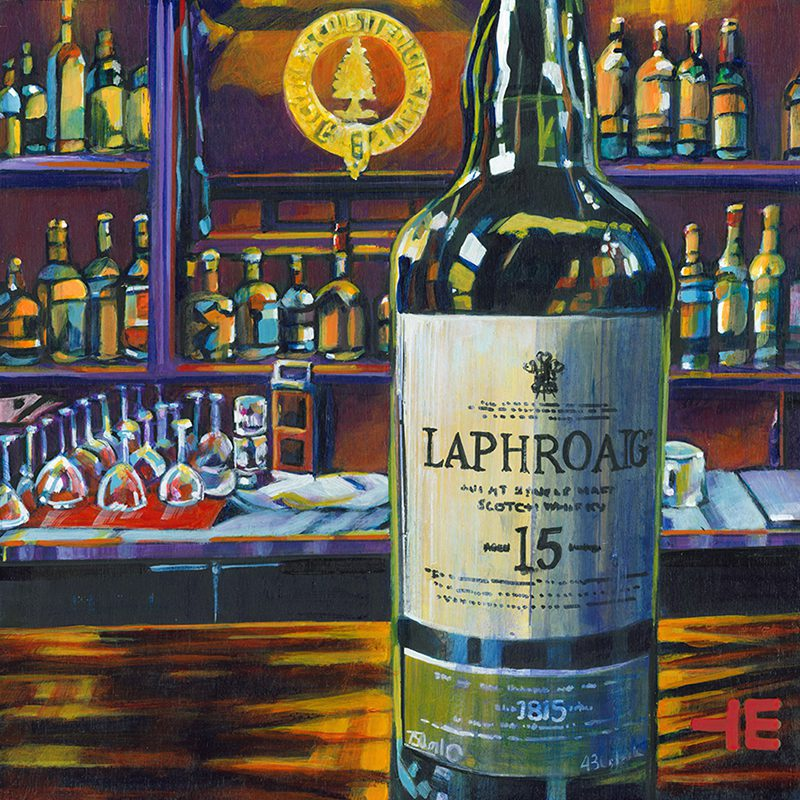 "Acrylic painting, "" Laphroaig Scotch at the Cypress Club, Medicine Hat "" by Canadian artist, Theresa Eisenbarth"