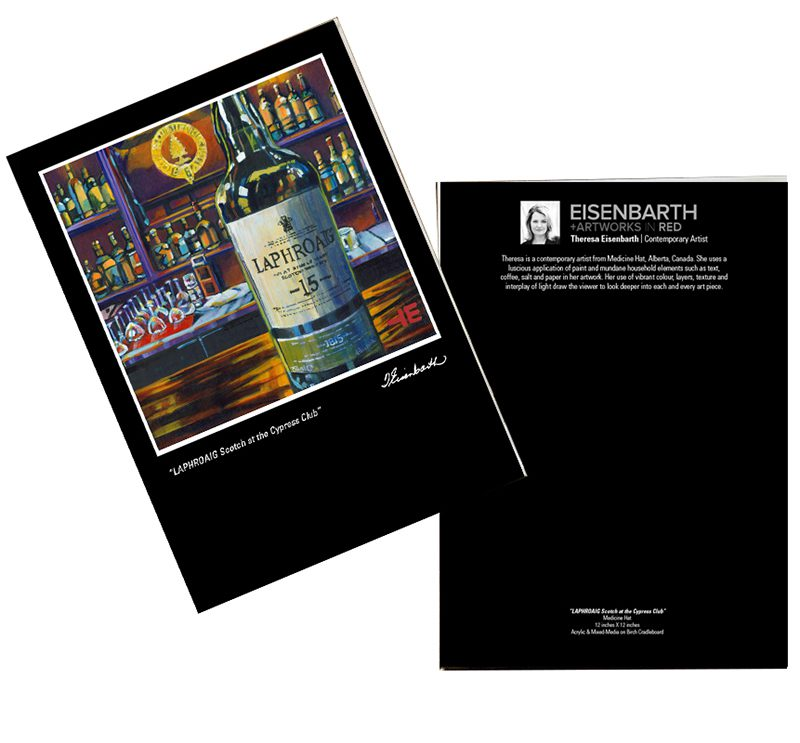 Notecards of Laphroaig Scotch painting, by Medicine Hat artist, Theresa Eisenbarth
