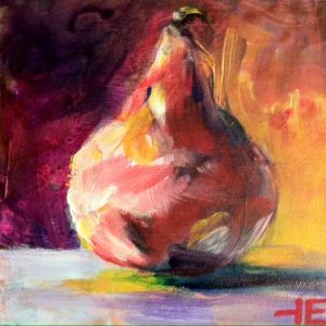 "Acrylic painting, "" Fresh Pear "" by Canadian artist, Theresa Eisenbarth"