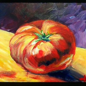 "Acrylic painting, "" Red Tomatoe "" by Canadian artist, Theresa Eisenbarth"