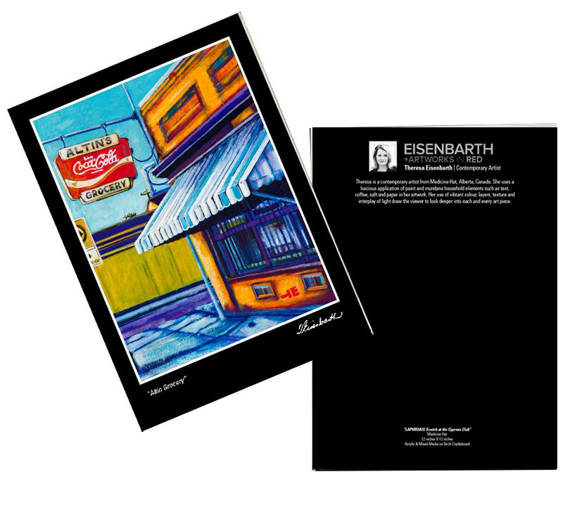 Notecards of Altin Grocery painting, by Medicine Hat artist, Theresa Eisenbarth