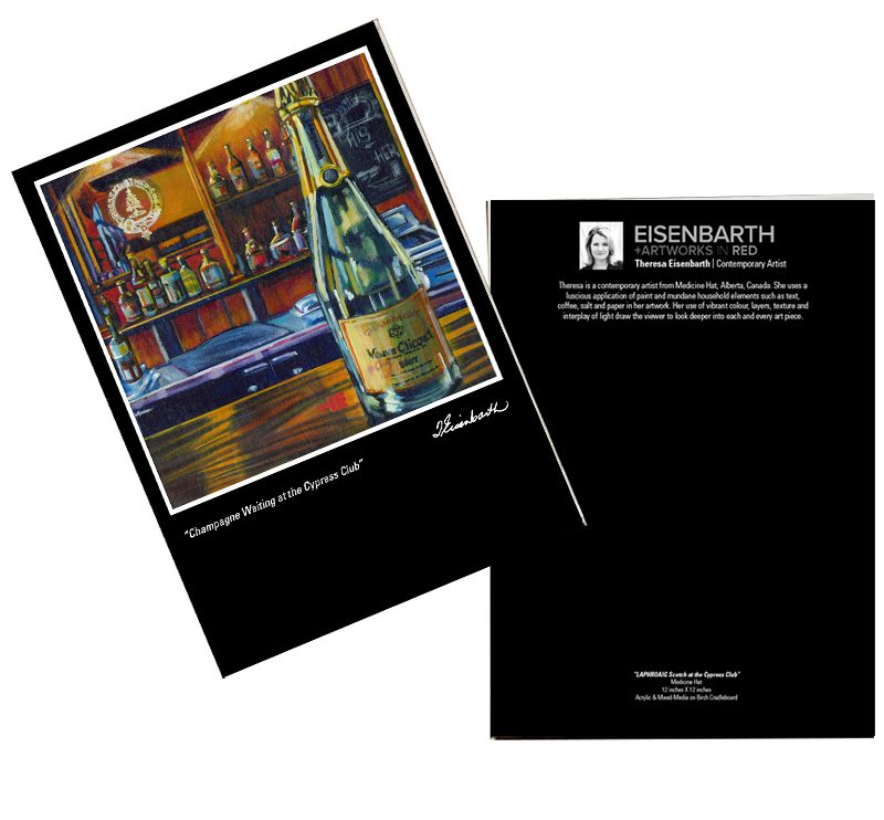 Notecards of Champagne Waiting painting, , by Medicine Hat artist, Theresa Eisenbarth