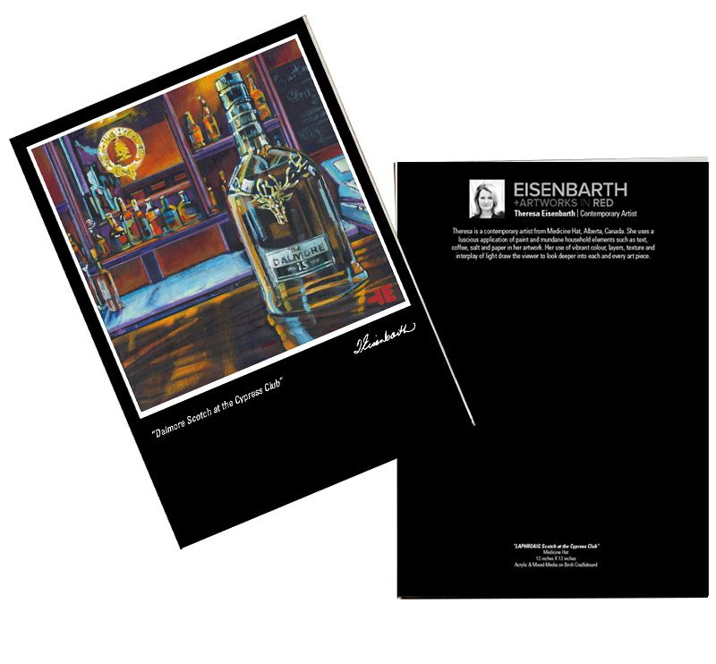 Notecards of Dalmore Scotch painting, by Medicine Hat artist, Theresa Eisenbarth