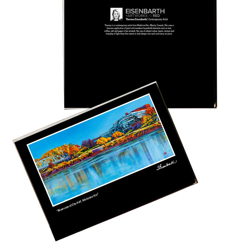Notecards of River view of City Hall, painting, by Medicine Hat artist, Theresa Eisenbarth