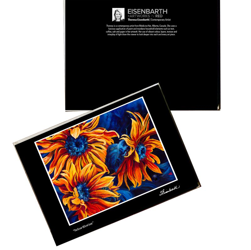 Notecards of Yellow Sunflowers painting, by Medicine Hat artist, Theresa Eisenbarth