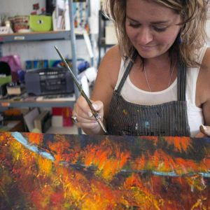 Canadian artist, Theresa Eisenbarth in her art studio