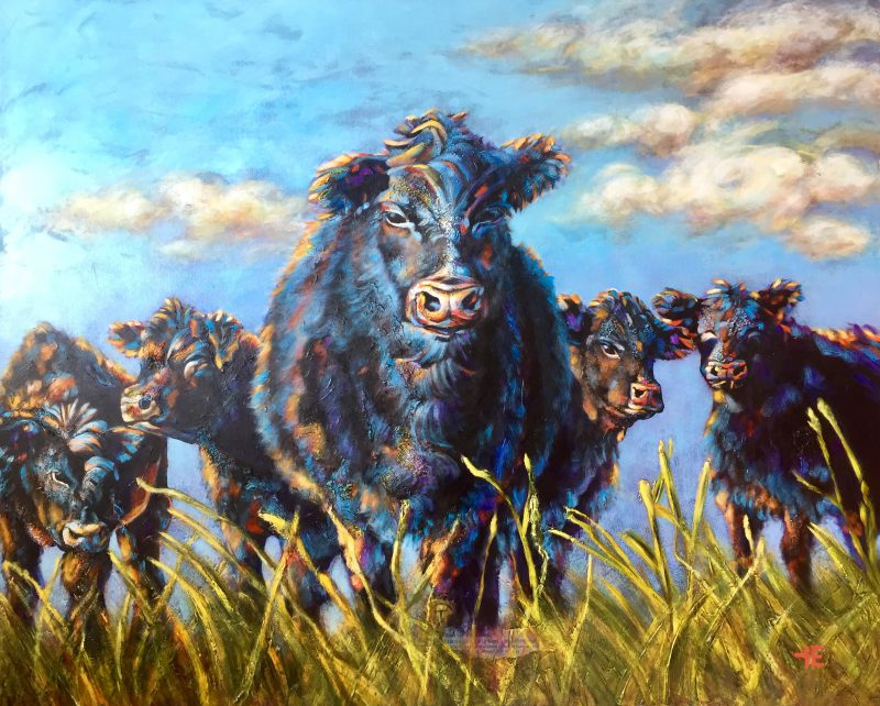 Five Cows, part of a family painting by artist Theresa Eisenbarth
